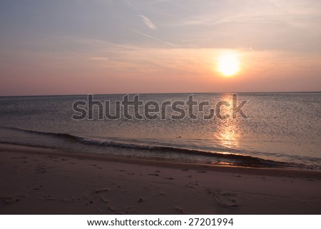 Great Lakes sunset - stock photo