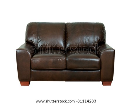 Great looking and luxurious of the dark brown leather sofa best for luxury hotels or homes - stock photo