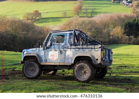 GREAT MALVERN, UK - DECEMBER 8: A Land Rover competing in the MROC off road championship negotiates a slippery turn before heading uphill at the Croft Farm venue on December 8, 2013 in Great Malvern