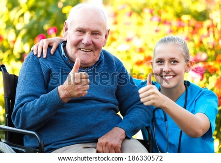 Great mood at the nursing home, happy patient with doctor. - stock photo