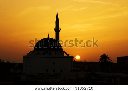 Great Mosque of Al-Jazzar at sunset. Akko (Acre), Israel - stock photo