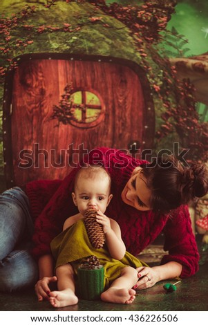 great mother hugging  her wonderful baby - stock photo