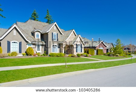 Great neighborhood. Empty street ( homes )  in suburbs  of Vancouver, Canada. - stock photo