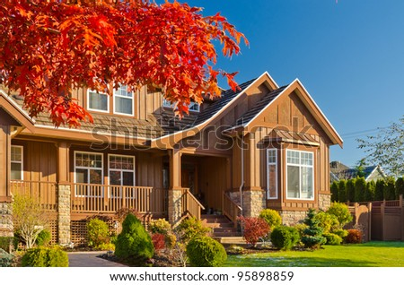 Great neighborhood. Homes in a suburb at Fall in the north America - stock photo