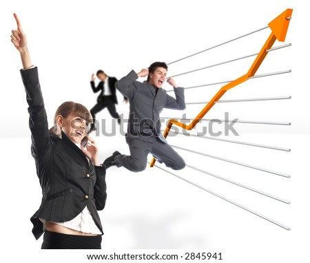 Great news - Businesswoman receives great news on the phone - stock photo