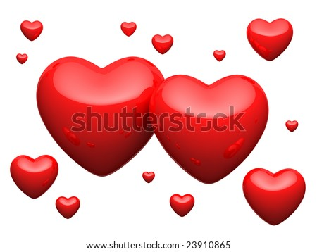 Great number of red hearts on white background - stock photo