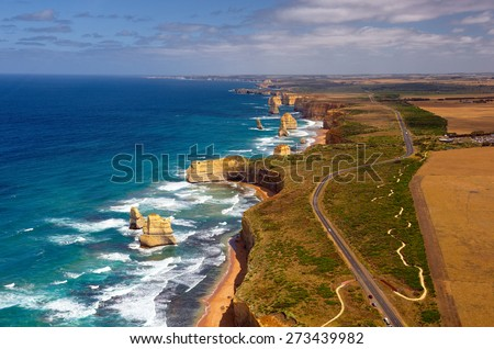 Great Ocean Road and 12 Apostles. Australia. Series of city and country - stock photo