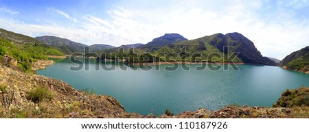 Great panoramic Escales marsh, in the Spanish Pyrenees - stock photo