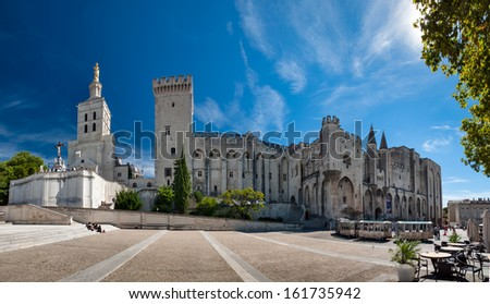 Great panoramic view of Palais des Papes and Notre dame des doms cathedral at Avignon - France - stock photo
