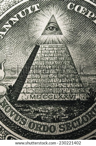 Great press of the USA. Big pyramid with an eye of the architect of the Universe. Secret signs on the Masonic order. Note reverse one dollar - stock photo