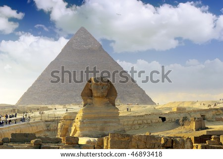 Great Pyramid of Pharaoh Khufu, located at Giza and the Sphinx. Egypt.