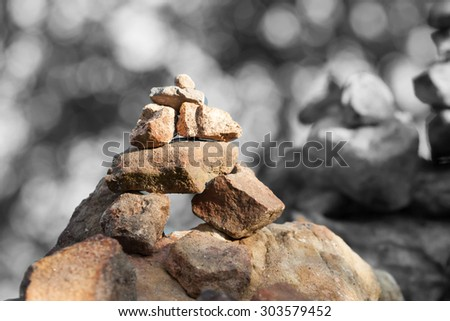 Great pyramid of stones on the background, of wild nature. zen - stock photo