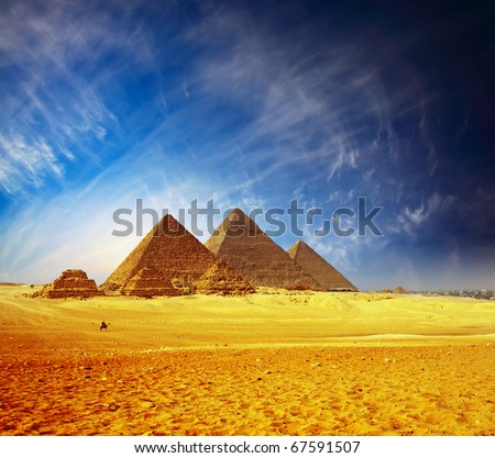 Great pyramids in Giza valley. Egypt - stock photo