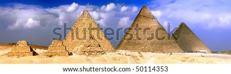 Great Pyramids, located in Giza, the pyramid of Pharaoh Khufu, Khafre and Menkaure. Egypt. Panorama - stock photo