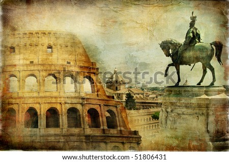 great Rome - artwork in painting style - stock photo