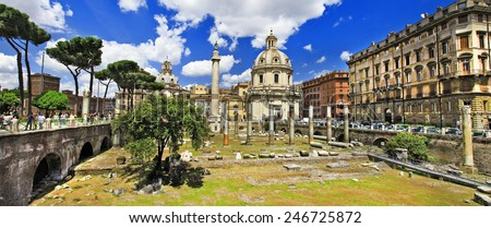 great Rome, panorama with ruins in Trojian market - stock photo