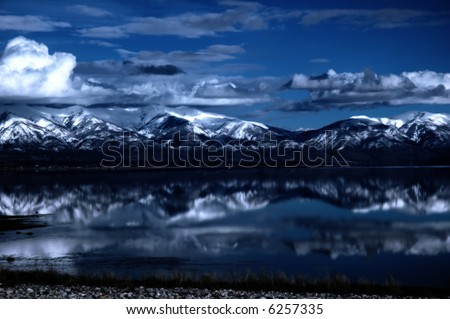 Great Salt Lake in Utah at night - stock photo