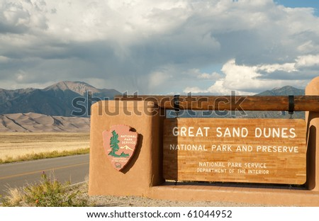 Great Sand Dunes National Park sign - stock photo