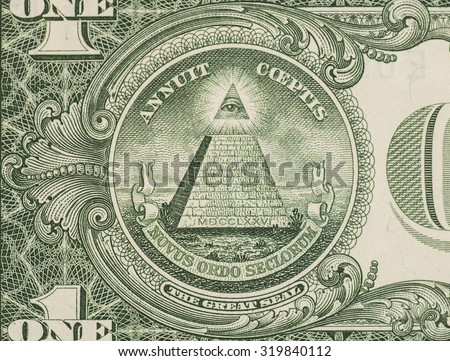 Great seal - US one dollar bill closeup macro, 1 usd banknote - stock photo