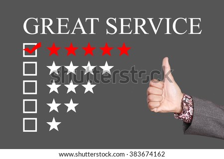 Great Service - Five Stars Rating with thumb up. Grey Background