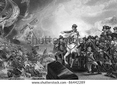 Great Siege of Gibraltar. Engaved by J.C.Armytage and published in The History of England, United Kingdom, 1862. - stock photo