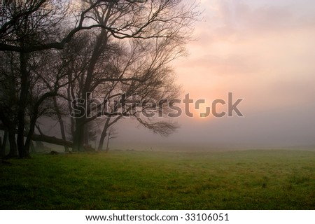Great Smoky Mountain National Park Cades Cove Sunrise Horizontal With Copy Space - stock photo