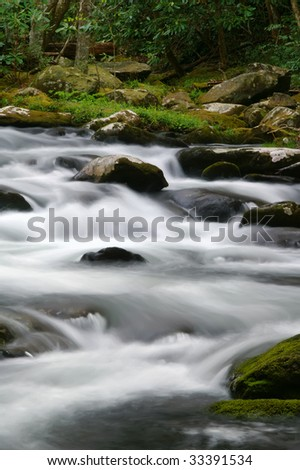 Great Smoky Mountain National Park Spring Rushing River Vertical - stock photo