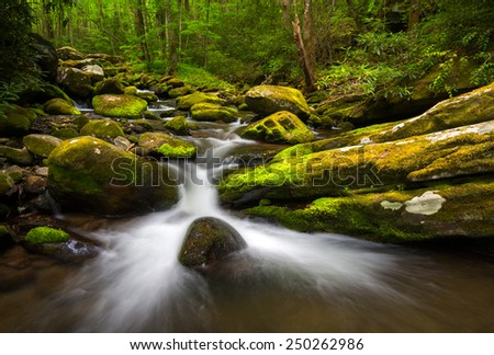 Great Smoky Mountains Gatlingburg Tennessee Scenic Natural Outdoors Landscape along the Roaring Fork Nature Trail - stock photo
