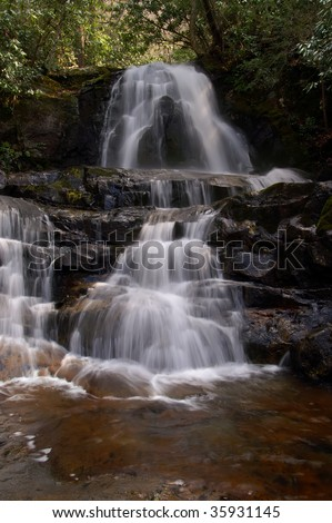 Great Smoky Mountains Laurel Falls in Spring Vertical - stock photo