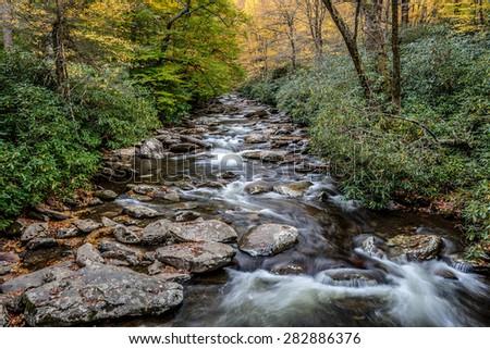 Great Smoky Mountains National Park - Alum Cave Creek - vacation getaway destination - Gatlinburg Pigeon Forge TN NC - stock photo