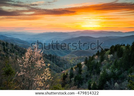 Great Smoky Mountains National Park Cherokee North Carolina Scenic Landscape in the Blue Ridge Mountains of western NC