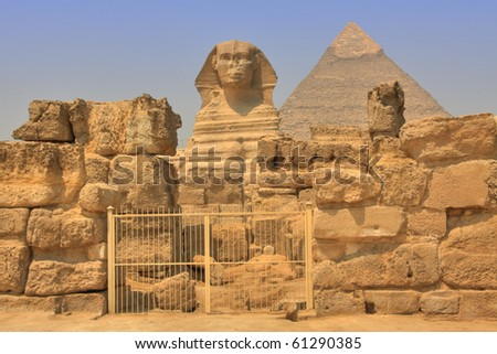 Great Sphinx and Khafre Pyramid, Giza Necropolis, Egypt (HDR photo)