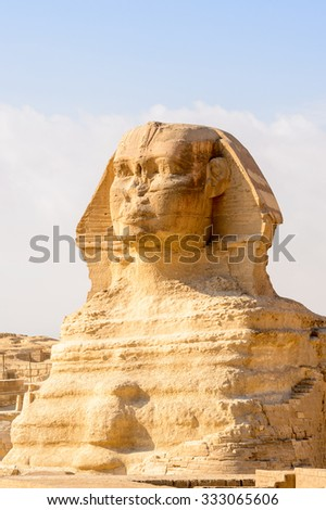 Great Sphinx of Giza, a limestone statue of a creature with a lion's body and a human head), Giza Plateau, West Bank of the Nile, Giza, Egypt - stock photo