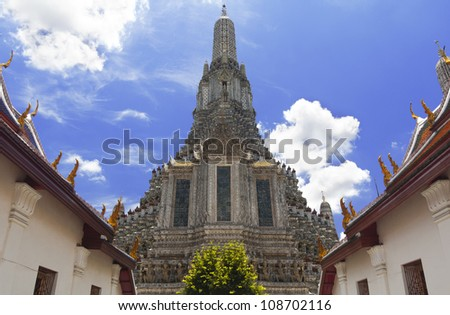 Great Stupa at Wat Arun (Temple of Dawn) With Blue Sky - stock photo
