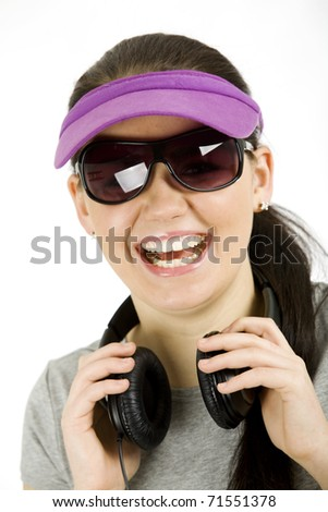 great teenage with headset - stock photo