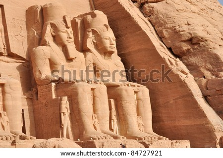 Great temple of Abu Simbel, in Egypt, Africa. It was constructed for the pharaoh Ramesses II who reigned for 67 years during the 13th century BC (19th Dynasty). - stock photo