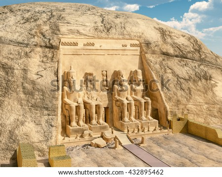 Great temple of Abu Simbel in Egypt Computer generated 3D illustration