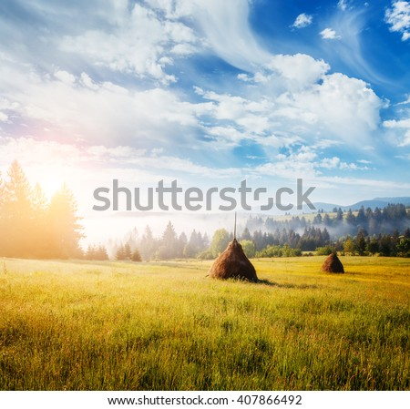 Great view of the foggy field and cloudy sky which glowing by sunlight. Dramatic and picturesque morning scene. Location place Carpathian, Ukraine, Europe. Artistic picture. Beauty world. Soft filter - stock photo