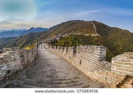 Great Wall, Mutianyu, Huairou County, China - stock photo