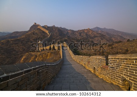 Great Wall of China at Sunny Day. - stock photo