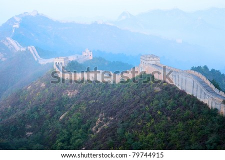 Great Wall of China in inshanling, Hebei Province - stock photo