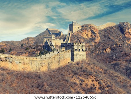 Great Wall of China in retro look - stock photo