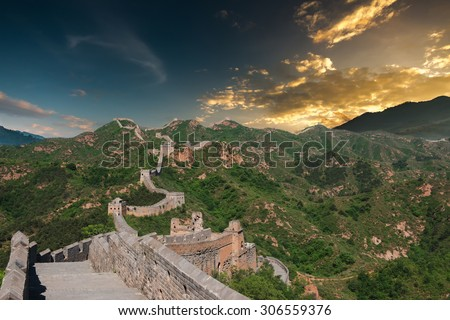 Great Wall of China in Summer with beautiful sky