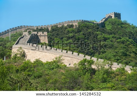 Great Wall of China in Summer with clear sky - stock photo