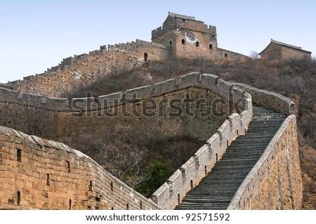 Great Wall of China near capital Beijing ( Jinshanling section ) - stock photo