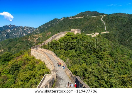 Great wall of China on a sunny day - stock photo