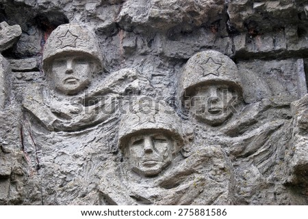 Great war`s scenes on the wall in Mamayev Kurgan memorial complex in Volgograd, Russia.