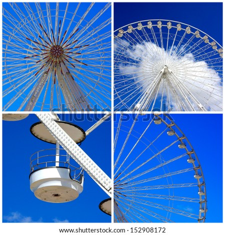Great wheel fairground collage - stock photo