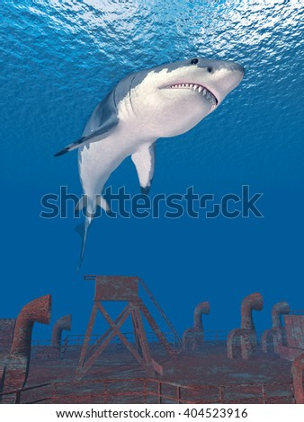Great white shark and shipwreck Computer generated 3D illustration - stock photo