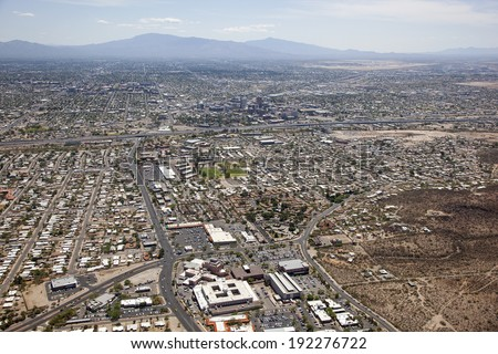 Greater Tucson, Arizona skyline aerial view looking east - stock photo